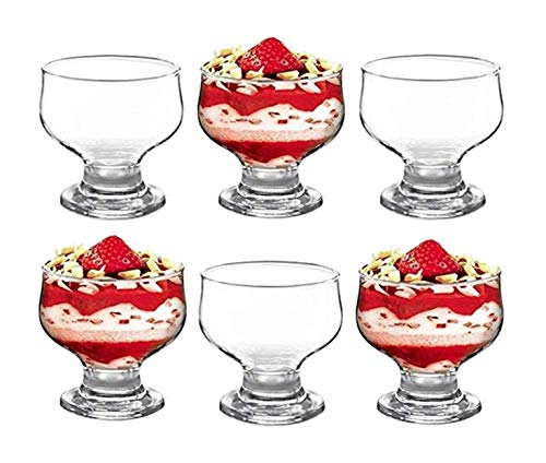 GK Global Kitchen Glass Dessert Bowls Sundae Ice Cream Set Of 6 Short Stemmed Tulip Prawn Cocktail Glasses Appetiser Fruit Salads Pudding Dishes Footed Dessert Sundae Cocktail Bowls (Kitchen & Home)