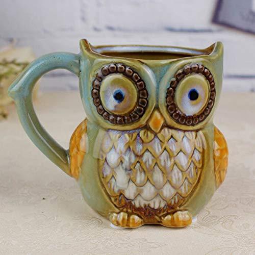wiFndTu Owl Ceramics Mug 3D Painted Coffee Mug Reusable Coffee Mug Milk Juice Cup Beverage Cup Novelty Coffee Mug Gift for(Blue)