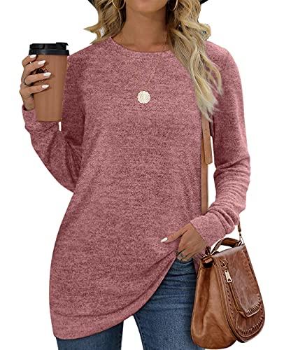 Womens Tops Long Sleeve Tunic Sweatshirt for Women Sweater Lightweight Pink XL