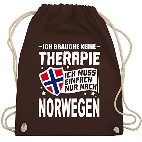 Shirtracer Länder - Ich brauche keine Therapie Ich muss einfach nur nach Norwegen - weiß - Unisize - Braun - Statement - WM110 - Turnbeutel und Stoffbeutel aus Baumwolle