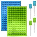 SENHAI 2 confezioni di stampi quadrati in silicone, 126 cavità flessibili e antiaderenti, stampi per cubetti di ghiaccio, caramelle fudge, cioccolato, gelatina, 1 blu e 1 verde