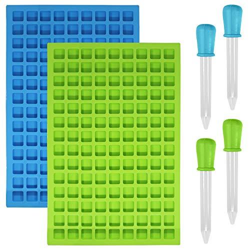 SENHAI Lot de 2 moules carrés en silicone, 126 cavités flexibles et antiadhésifs, pour glaçons, bonbons, chocolats, gelées – 1 bleu et 1 vert