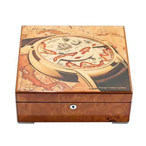 Caja de reloj de madera con pintura de piano Caja de almacenamiento de colección de relojes mecánicos con cerradura Regalos de empresa de alta gama Caja de almacenamiento de reloj chino de patrón ex
