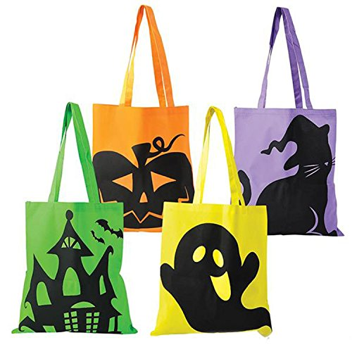 happy deals Halloween Tote Bags - 12 Pack - Large 15 x 16 inch Trick or Treat Tote Bags