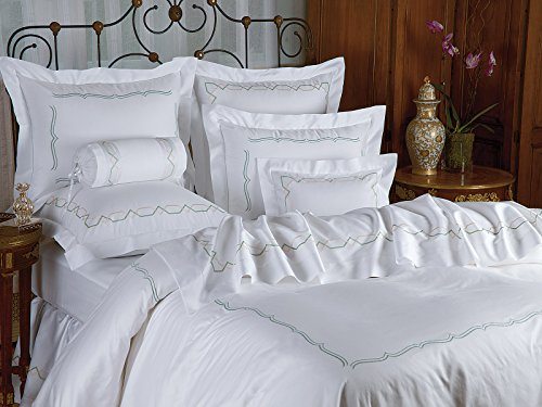 Fantastic Prices! Schweitzer Linen Canton Duvet Covers (Comforter Covers), Mist Green/Rose (Full/Que...