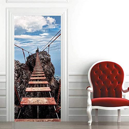 3D Türtapete Hängebrücke Alpenlandschaft 88 * 200cm Kunst Tür Poster Türaufkleber selbstklebende abnehmbare Türfolie Türtapete für Schlafzimmer, Bad und andere Innentüren