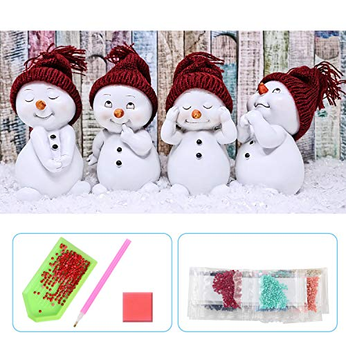 UPINS 5D DIY 20 x12 Inch Christmas Snowman Full Drill Rhinestone Diamond Art Painting Kits for Adult