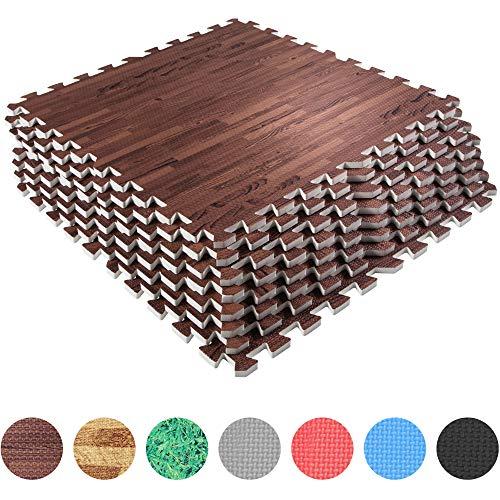 GORILLA SPORTS® Schutzmatten-Set – 8 Puzzle-Matten/Sport-Matten 60 x 60 x 1,2 cm (Holzoptik dunkel)
