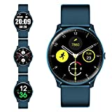 Smart Watch with Heart Rate Monitor Compass for Men Women,Evershop IP68 Waterproof Fitness Tracker with Sleep Tracker Pedometer Compatible for Android Phones&iPhone (Marina Blue)