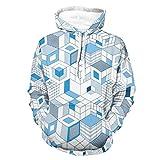 BTJC88 Hombres 3D Swirl Sudaderas Ocio - Geometría Art Sports Jacket white s