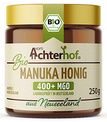 Bio Manuka Honig | 250g | 100% BIO | mit 400+ MGO | in Deutschland laborgeprüfter Methylglyoxal Wert | reines Naturprodukt aus Neuseeland | aus ethischer Imkerei | vom Achterhof