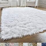 Gorilla Grip Original Premium Faux Fur Area Rug, Soft Living Room Area Rug, 5 FT x 7 FT, Bedroom Floor Rugs, Softest Feeling Carpet, Best Touch, Luxury Modern Room Décor, Rectangle, Pure White