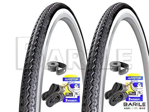 Michelin PROMOZIONE - 2 x Copertone 28 x 1 5/8-1 3/8 (700 x 35) + 2 x Camera 28 x 1 5/8-1 3/8 (700 x 35) Ideale Bicicletta City Bike Donna/Uomo - con Cambio o Senza Cambio (Bianco/Nero)
