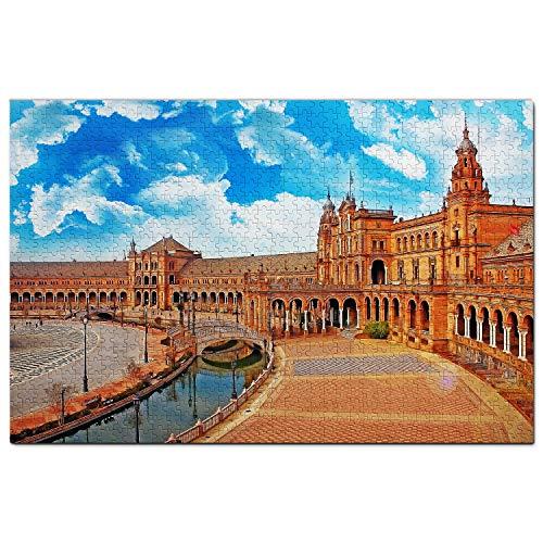 Plaza de España Sevilla Puzzle 1000 Piezas para Adultos Familia Rompecabezas Recuerdo Turismo Regalo