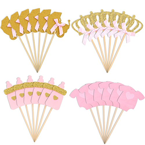 Jetec 48 Pieces Pink and Gold Girl Baby Shower Cupcake Toppers Cake Toppers Picks for Girls Birthday Party Favor Kit