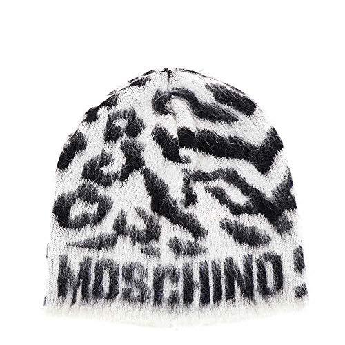 Moschino Mütze Damen M2124 65176 002 Weiß Schwarz