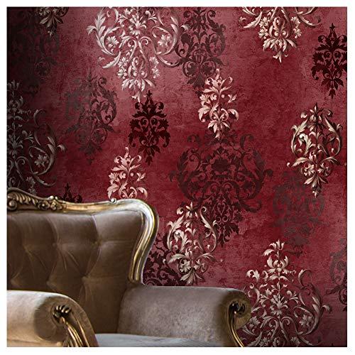 JZ·HOME JZ111 Luxury Red Damask Wallpaper Rolls, Stereo Deep Embossed Vinyl Wallpaper Bedroom Living Room Hotel Wall Decoration 20.8' x 393.7'