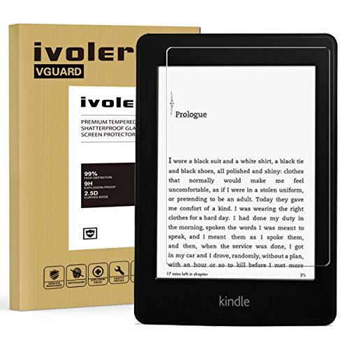 ivoler Panzerglas Schutzfolie für Amazon Kindle Paperwhite (All 2012/2013 / 2015/2016 Versions) / Kindle (2014 / 7th Gen) / Kindle E-Reader (2016/ 8th Gen), 9H Härte, Anti- Kratzer, Bläschenfrei