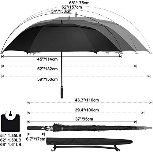 G4Free 68 inch Oversize Windproof Automatic Open Golf umbrella Double Canopy Vented Waterproof Large UV Sun Protection Stick Umbrellas (Black)