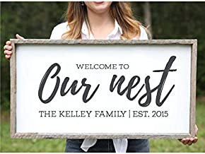 DoreenAbe Custom Framed Wood Sign, Welcome to Our Nest Family Name Established Sign Farmhouse Sign Last Name Sign Custom Name Sign Personalized Sign Rustic Sign