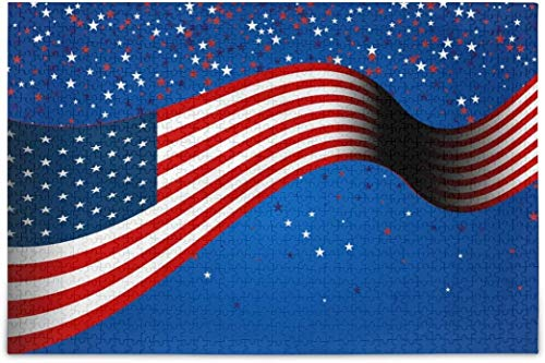 Puzzles für Erwachsene 1000 - Banner American Flag Stars Puzzles Teile für verschiedene Puzzlespiele für Familien