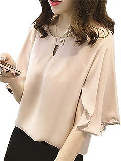 [ニーマンバイ] フレア袖 ドレスシャツ 半袖 とろみ素材 シフォン ブラウス かわいい レディース M〜4XL