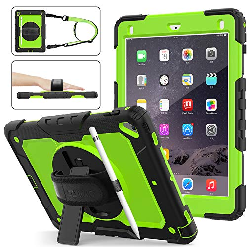 SEYMAC Stock iPad 6th/5th Generation Case, Shockproof [Full-body] Protective Case with 360 Rotating Stand Pencil Holder[ Screen protector] & [Hand Strap] for New iPad 2017/2018 (Green+Black)