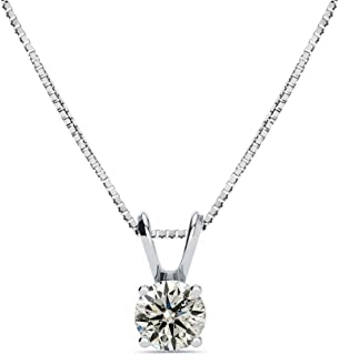 14K White Gold 1/2 Carat Solitaire Diamond Pendant Necklace (K-L, I2-I3) AGS Certified with Free Chain, 18 Inches