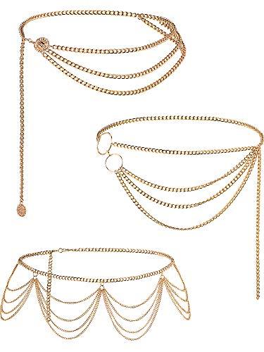 Hicarer 3 Stücke Bauch Taille Kette Mehrschichtige Metall Taille Kette Körper Sommer Strand Schmuck für Frauen und Mädchen (Quaste-Stil)