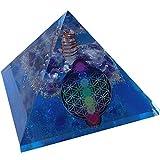 CHONIT Orgonita pirámide, Chakra-Mix Ozean azul con símbolo flor de la vida, EMF-protección contra la radiación, pequeño con cristal de roca como decoración para el hogar