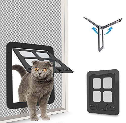CEESC Haustier-Tür für Katzen und Hunde (Außengröße 29,2 x 23,9 cm), 4-Wege-Verriegelung, Schiebetür für Außentüren, große Katzenklappe für Haustiere mit Umfang < 59,9 cm