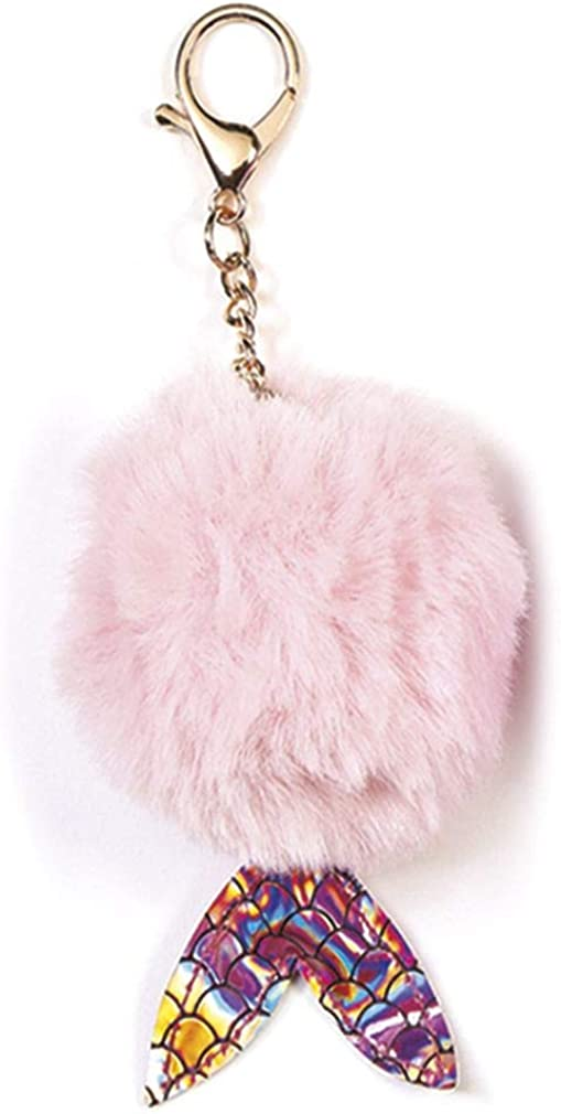 iscream Mermaid Tail Furry Pom-Pom Decorative Purse and Backpack Clip Keychain Charm, Pink : Clothing, Shoes & Jewelry