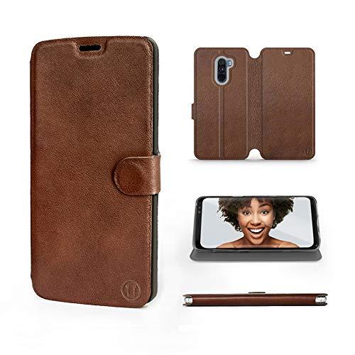 Mobiwear | Echt Lederhülle | Kompatibel mit Xiaomi Pocophone F1, Made in EU handyhülle, Slim Leather Hülle, Premium Flip Schutzhülle, Transparent TPU Silicon, Book Style, Tasche - Braunes Leder