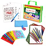 Drawing Stencil Set – 50-Piece Crafting Kit for Kids – Best Travel Activities for Toddlers – Fun & Educational Toy for Children 3+ Years Old – Ideal for Girls & Boys – Perfect as Birthday Gift