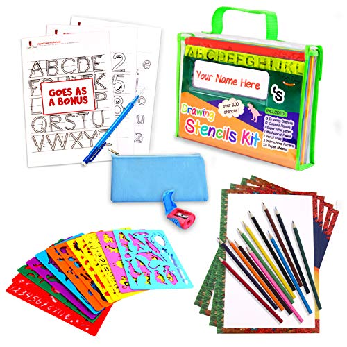 Drawing Stencil Set – 50-Piece Crafting Kit for Kids –...