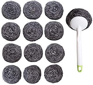 Kitchen Sumo Stainless Steel Sponges Scourer Set with Handle 40 Gram - Pack of 12 - Large Stainless Steel Scrubbers - Metal Scouring Pads - Kitchen Cleaning Tool