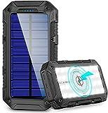 Powerbank Solare 26800mAh, Caricabatterie Solare Portatile Wireless IP66 Impermeabile Batteria Esterna 3 Porte 4.1A,Caricabatterie Solare Portatile Ricarica Rapida per Cellulare iPad Tablets