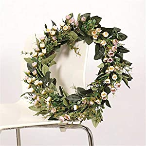 Artificial Camellia Wreath 12.6 in Handmade Silk Simulation Fragrant Snowball Flower Wreaths Spring Front Door Wreaths Garland Hanging Pendants for Home Wedding Decoration Gift