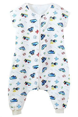 FEOYA Grenouillère Bébé Gigoteuse avec Jambes Fille Garçon Combinaison Eté Coton Pyjama Sac de Couchage - 24-36 Mois
