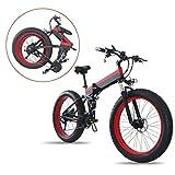sunyu Bicicleta Eléctrica Plegable Potente 350W Ruedas Anchas 26 x 4'' Bateria Removible 48V 10AH - Bici de Montaña/Carretera/Playa/Nieve para Adultos