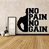 Calcomanía de vinilo para culturismo de gimnasio, sin dolor, sin ganancia, calcomanía de entrenamiento, motivación, papel tapiz, Mural, pegatina de pared A7 73x57cm