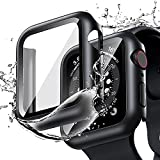 [2 Pack] Goton Waterproof Case Compatible for Apple Watch SE Series 6 /5 /4 40mm Case with Screen Protector, PC Matte Hard HD Tempered Glass Full Face Cover Protective Bumper Watch Case Accessories for iwatch women men (Black+Black, 40mm)