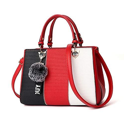 Mdsfe Adornos de Bolas de Pelo para Mujer Bolsos de Retazos Bolso de Fiesta Bolsos de Hombro para Mujer Messenger Crossbody Bolsos de Mujer - Rojo, 29x14x20cm