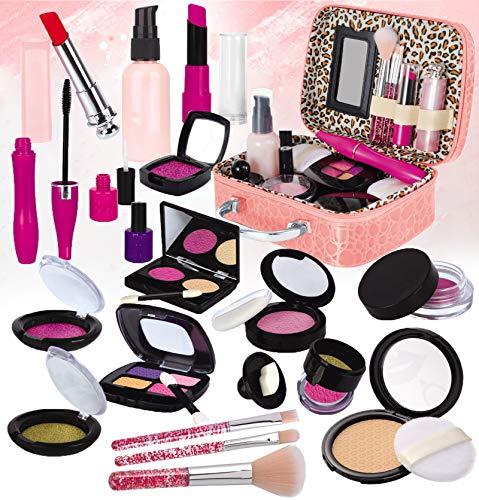 STAY GENT Faux Maquillage Enfant Jouet pour Filles, Faux Maquillage Kit avec Cosmétique Sac pour Prétend Enfants Rôle Jouer Fille Cadeau pour Plus de 3 Ans Anniversaire Noël (Pas de Vrai Maquillage)
