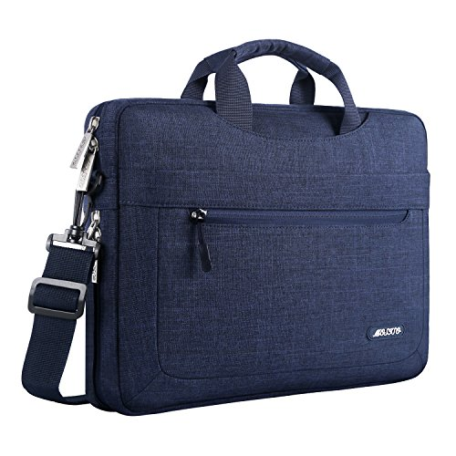 MOSISO Umhängetasche Laptoptasche Kompatibel mit 13-13,3 Zoll MacBook Air, MacBook Pro, Notebook Computer Polyester Laptop Schultertasche mit Einstellbar Tiefe beim Unterseite, Navy Blau