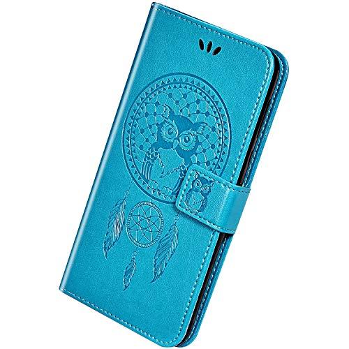 Herbests Compatible avec Huawei Honor 20 Pro Coque Owl Case Wind Chime Motif Embosser Flip Cuir Etui Protecteur avec Support et Carte Machines à sous et Porte-Monnaie Pochette Housse,Bleu
