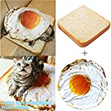Thenxin-Pet Bed Novely Creative Toast Bread Slice Style Pet Mats Cushion Soft Warm Mattress with Eggs Mats Blanket for Cats & Dogs