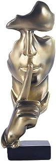Fablcrew Le Silence est d'or,Silence Statues Résine,Moderne Simple Artisanat Ornements, Sculpture décorations Art pour Sal...
