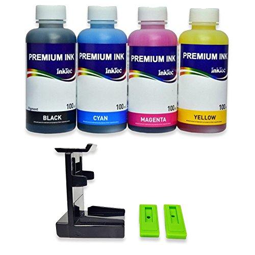 Кit ricarica cartucce HP N° 305 nero e colore, Appositamente per la stampante HP, Refill Clip, 400 ml inchiostro ricarica Premium Inktec