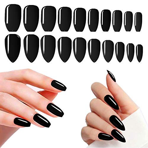 Black Nails Press On Medium, 480PCS Cosics Full Cover Coffin Ballerina & Almond Acrylic Nails Stick On Black, Solid Glossy Fake Nail Art Extension Tips with Storage Organizers for Women, Girls, Salon